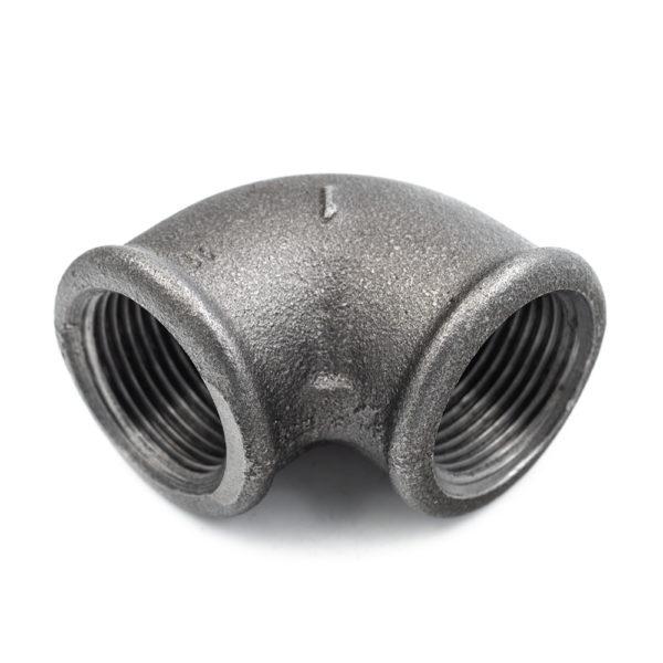 Coude à 90° en acier noir 26x34mm
