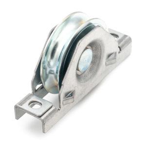 Monture en acier galvanisé - Galet Ø 80mm - Rail Ø 16mm